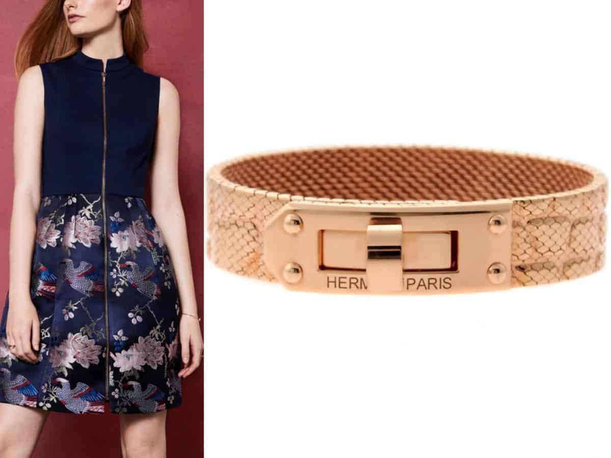 """""""5 Must-Have Dresses Every Woman Needs in their Closet""""  Ted Baker BOBYD Chinoiserie Jacquard Zipped Dress // Ted Baker  Hermes Kelly Rose Gold Bracelet // Opulent Jewelers"""
