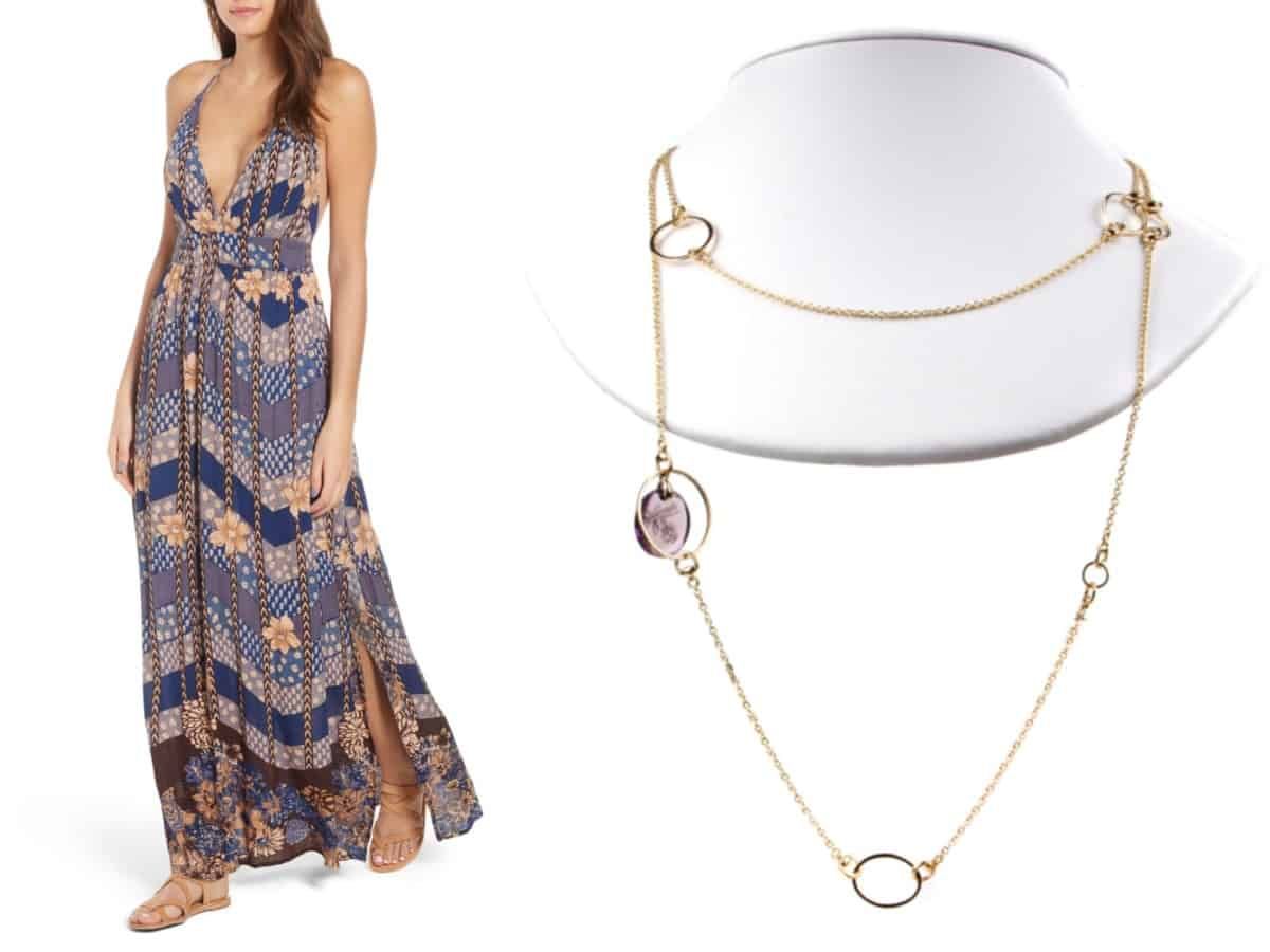 """""""5 Must-Have Dresses Every Woman Needs in their Closet""""  O'Neil Annalisa Halter Maxi Dress // Nordstrom  Gucci Flora Amethyst Drop Necklace // Opulent Jewelers"""