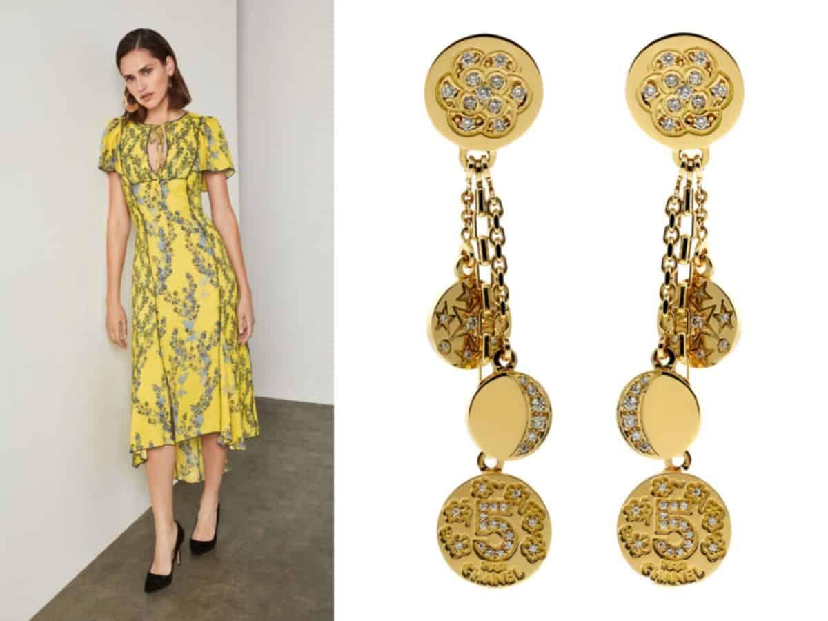 """""""5 Must-Have Dresses Every Woman Needs in their Closet""""  BCBGMAXAZRIA Floral Blooms High-Low Dress // BCBGMAXAZRIA  Chanel Charm Diamond Gold Earrings // Opulent Jewelers"""